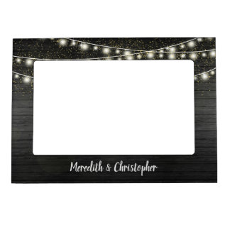 Rustic Black Wood and String Lights Wedding Magnetic Picture Frame