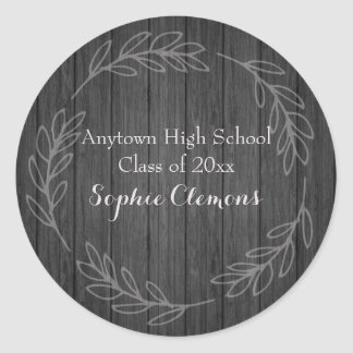 Rustic Black Wood Leafy Frame Graduation Classic Round Sticker