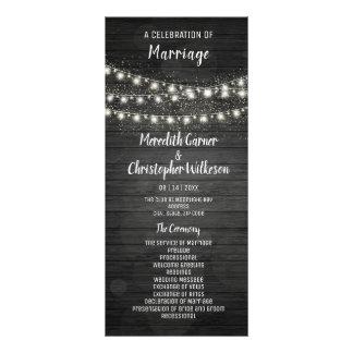 Rustic Black Wood String Lights Wedding Program Rack Card