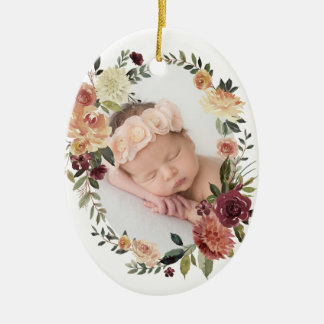 Rustic Bloom First Christmas Photo Ceramic Ornament