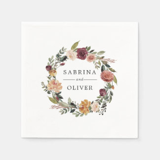 Rustic Bloom | Floral Wreath Personalized Wedding Disposable Serviettes
