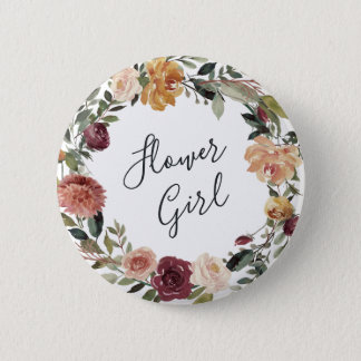 Rustic Bloom Flower Girl 6 Cm Round Badge