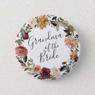 Rustic Bloom Grandma of the Bride 6 Cm Round Badge