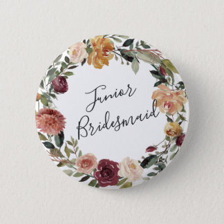 Rustic Bloom Junior Bridesmaid 6 Cm Round Badge