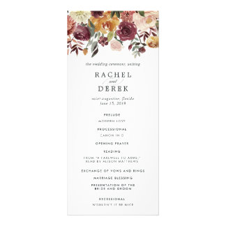 Rustic Bloom Wedding Ceremony Program Rack Card