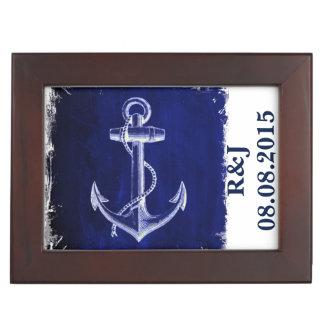 rustic Blue anchor nautical wedding mr and mrs Keepsake Box