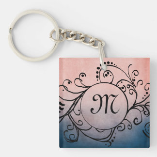 Rustic Blue and Pink Bohemian  Flourish Square Acrylic Key Chains