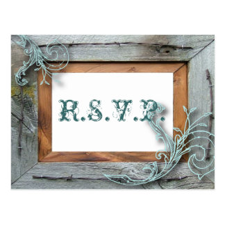 rustic blue barn wood Country Wedding RSVP Postcard