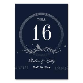 Rustic Blue Bird on Leaves Wedding Table Number