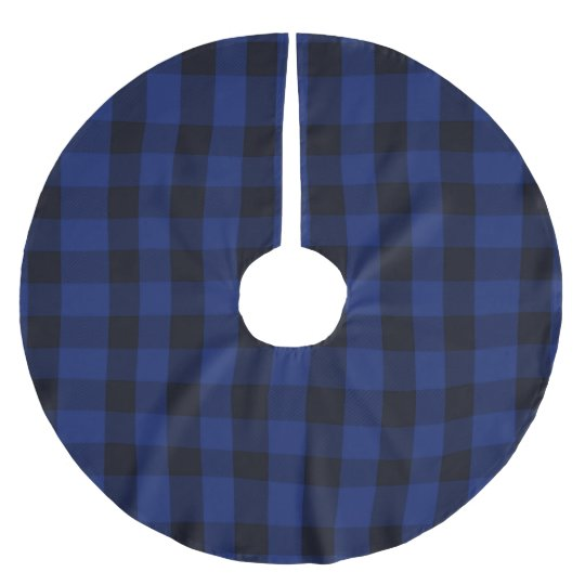 Rustic Blue Buffalo Check Plaid Lumberjack Brushed Polyester Tree Skirt