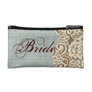 rustic blue burlap beige lace country bride cosmetics bags