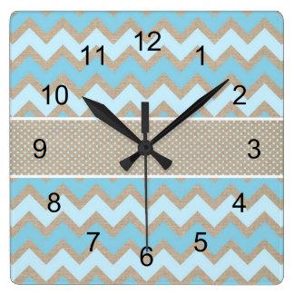Rustic Blue chevron canvas dot baby nursery decor Square Wall Clock