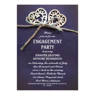 rustic blue engagement party invitation
