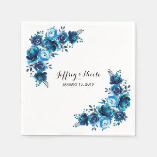 Rustic Blue Floral Country Barn Wedding Paper Serviettes
