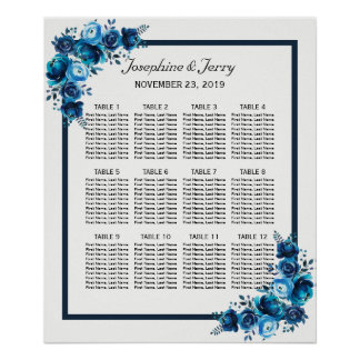 Rustic Blue Floral Country Wedding Seating Chart