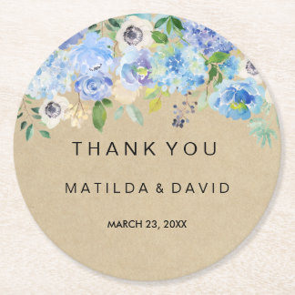 Rustic Blue Floral Thank You Wedding Round Paper Coaster