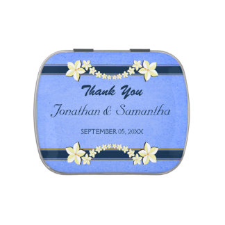 Rustic Blue Floral Wedding Favor Candy Tins