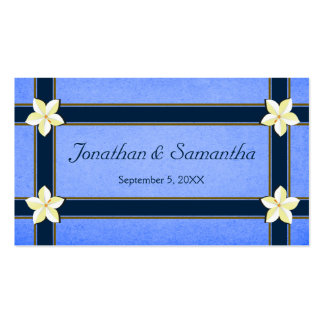 Rustic Blue Floral Wedding Favor Favour Tags Double-Sided Standard Business Cards (Pack Of 100)