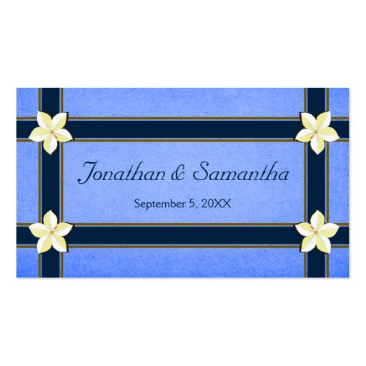 Rustic Blue Floral Wedding Favor Favour Tags Business Card Templates