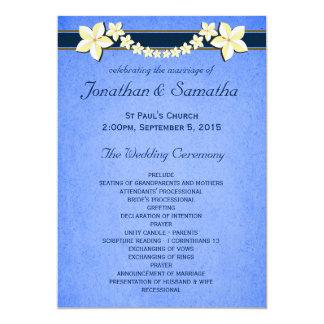 Rustic Blue Floral Wedding Program Templates 13 Cm X 18 Cm Invitation Card
