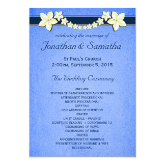 Rustic Blue Floral Wedding Program Templates Personalized Invitation