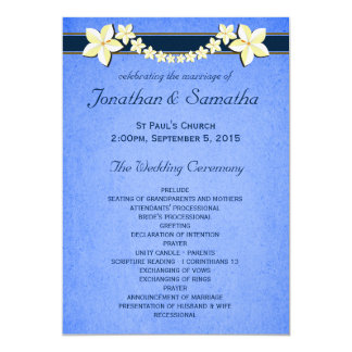 Rustic Blue Floral Wedding Program Templates 5x7 Paper Invitation Card