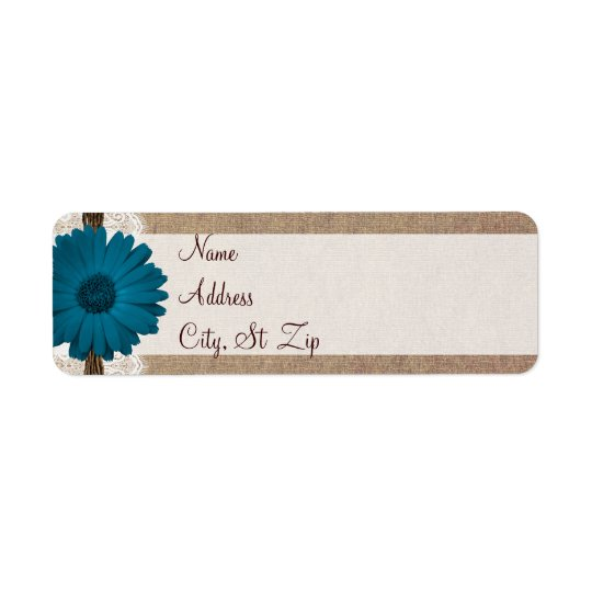 Rustic Blue Gerber Daisy Return Address Labels