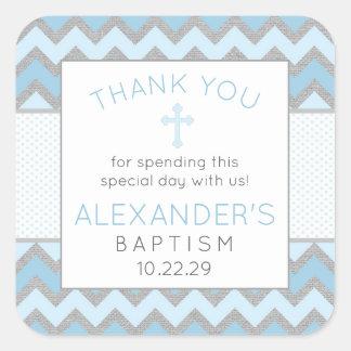 Rustic Blue Gray Baptism thank you favor sticker