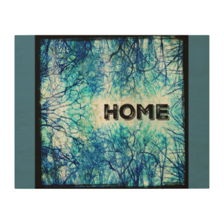 Rustic Blue Home Sign Wood Print