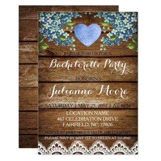 Rustic Blue Hydrangea/Lace Bachelorette Party Card
