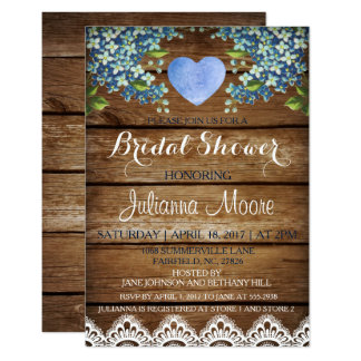 Rustic Blue Hydrangea & Lace Bridal Shower Card