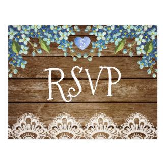 Rustic Blue Hydrangea & Lace RSVP Card