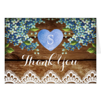 Rustic Blue Hydrangea & Lace Thank You Card