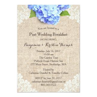 Rustic Blue Hydrangea Post Wedding Breakfast #2 Card