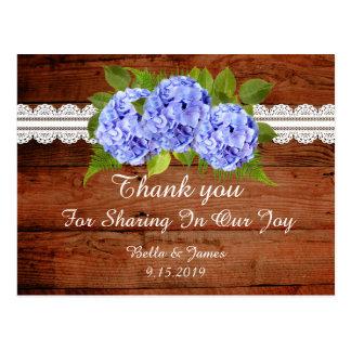 Rustic Blue Hydrangea Wedding Thank you Postcard