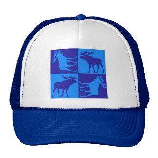 Rustic blue moose square design cap