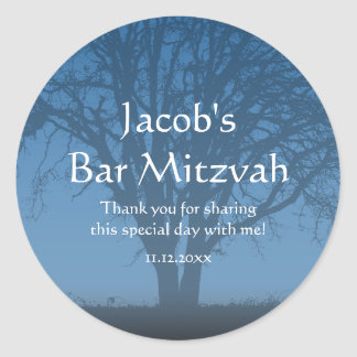 Rustic Blue Tree of Life Bar Mitzvah Classic Round Sticker