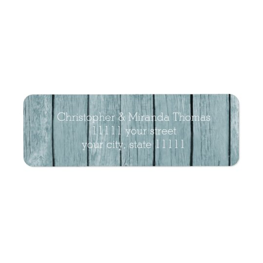 Rustic Blue Wood Return Address Label