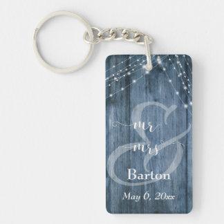 Rustic Blue Wood, White Light Strings Mr & Mrs Key Ring