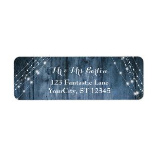 Rustic Blue Wood, White Light Strings Wedding 2 Return Address Label
