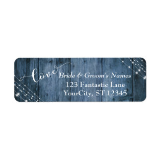 Rustic Blue Wood, White Light Strings Wedding 3 Return Address Label
