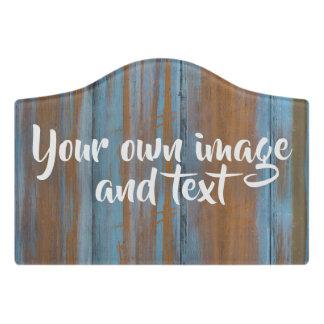 Rustic blue woodgrain handwritten custom door sign