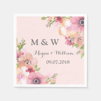 Rustic Blush Pink Flowers Wedding Monogram Disposable Serviette