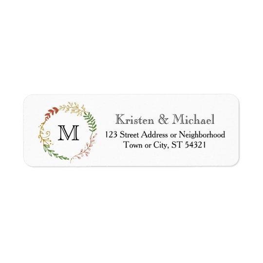 Rustic Bohemian Autumn Floral Wreath Wedding Return Address Label