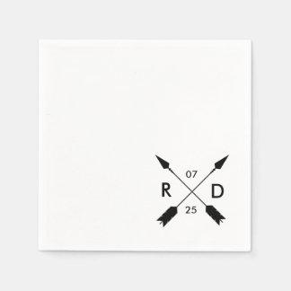 Rustic & Bohemian   Crossed Arrow   Custom Wedding Disposable Serviettes