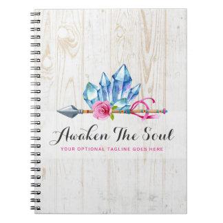 Rustic Bohemian Crystal Gems & Arrow Watercolor Notebook