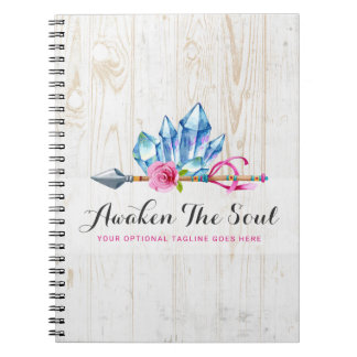 Rustic Bohemian Crystal Gems & Arrow Watercolor Spiral Notebook