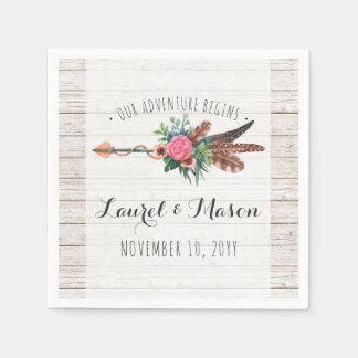 Rustic Bohemian Feathers Arrow Wedding Reception Disposable Serviette