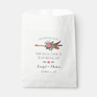 Rustic Bohemian Feathers Arrow Wedding Thank You Favour Bag