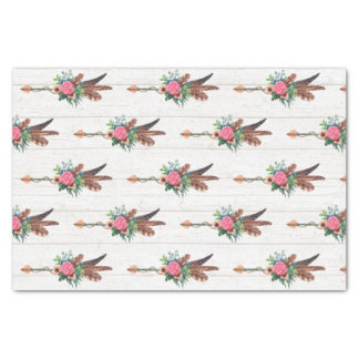 Rustic Bohemian Feathers & Rose Arrow Wedding Tissue Paper